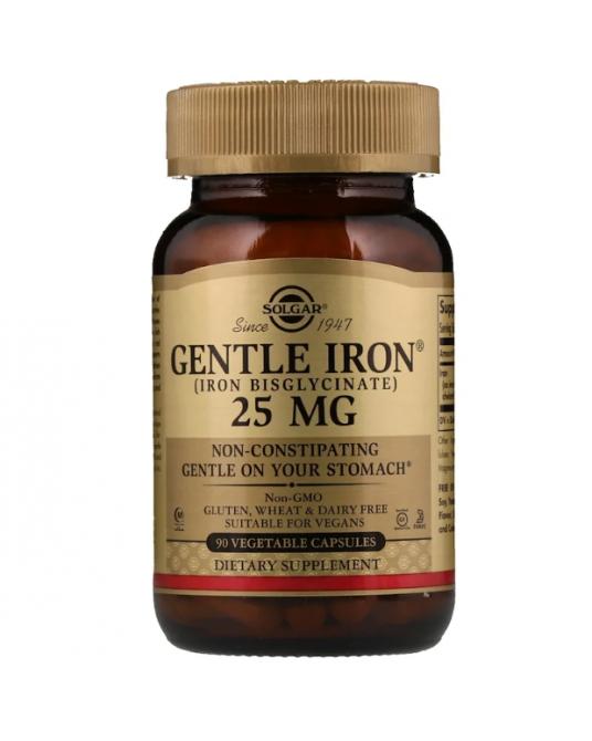 Solgar - Gentle Iron - łagodny preparat żelaza 25 mg dwuglicynian żelaza 90 Kapsułek