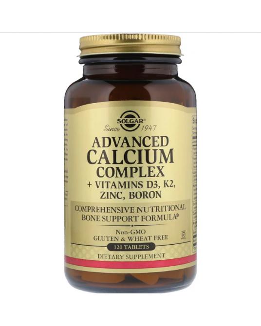 Solgar, Advanced Calcium Complex + Witaminy D3, K2, Cynk, Bor, 120 tabletek