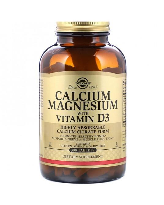 Solgar, wapń magnez z witaminą D3, 300 tabletek