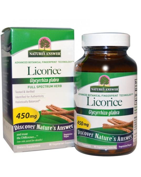 Nature's Answer, Lukrecja, 450 mg, 90 Kapsułek Wegetariańskich