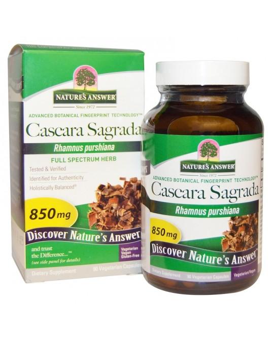 Nature's Answer, Cascara Sagrada, Produkt o pełnym spektrum działania, 850 mg, 90 kapsułek wegetariańskich