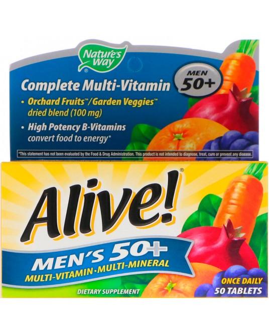 Nature's Way, Alive! Kompletny Zestaw Witamin Dla Mężczyzn 50+, 50 tabletek