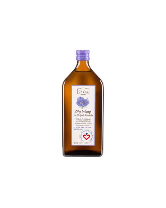 OL'VITA - Olej lniany do diety dr Budwig zimno tłoczony nieoczyszczony, nierafinowany 500 ml